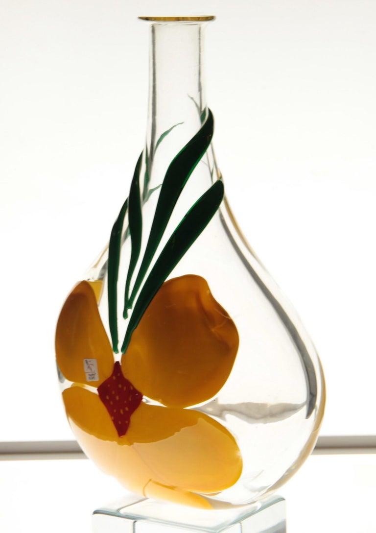 Berit Johansson for Pauly Murano Flask Monet's Giverny Nasturtium Beloved Flower For Sale 12