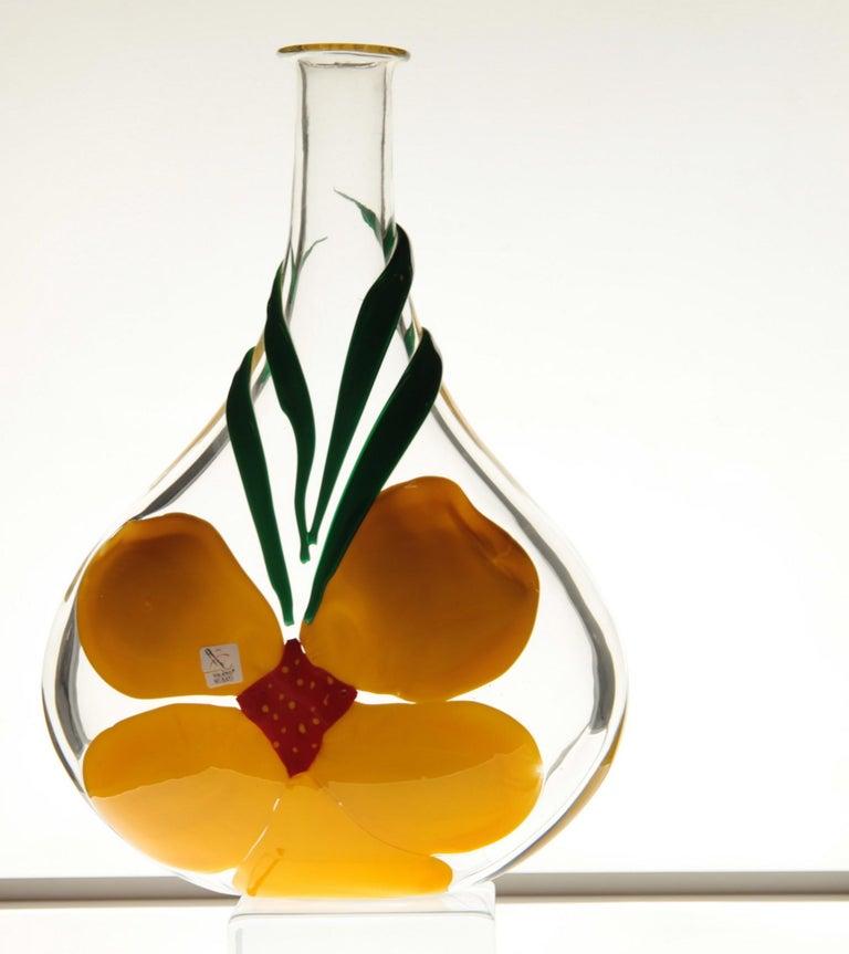 Mid-Century Modern Berit Johansson for Pauly Murano Flask Monet's Giverny Nasturtium Beloved Flower For Sale
