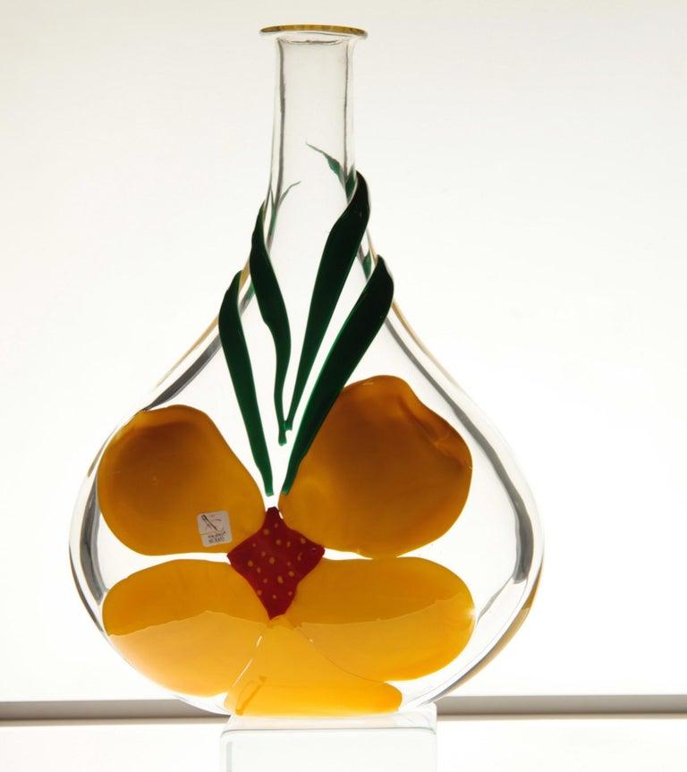 Berit Johansson for Pauly Murano Flask Monet's Giverny Nasturtium Beloved Flower For Sale 13