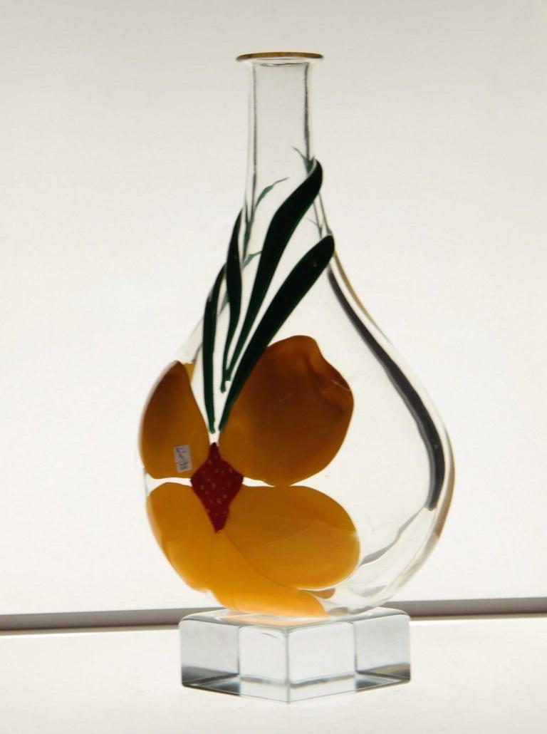 Italian Berit Johansson for Pauly Murano Flask Monet's Giverny Nasturtium Beloved Flower For Sale