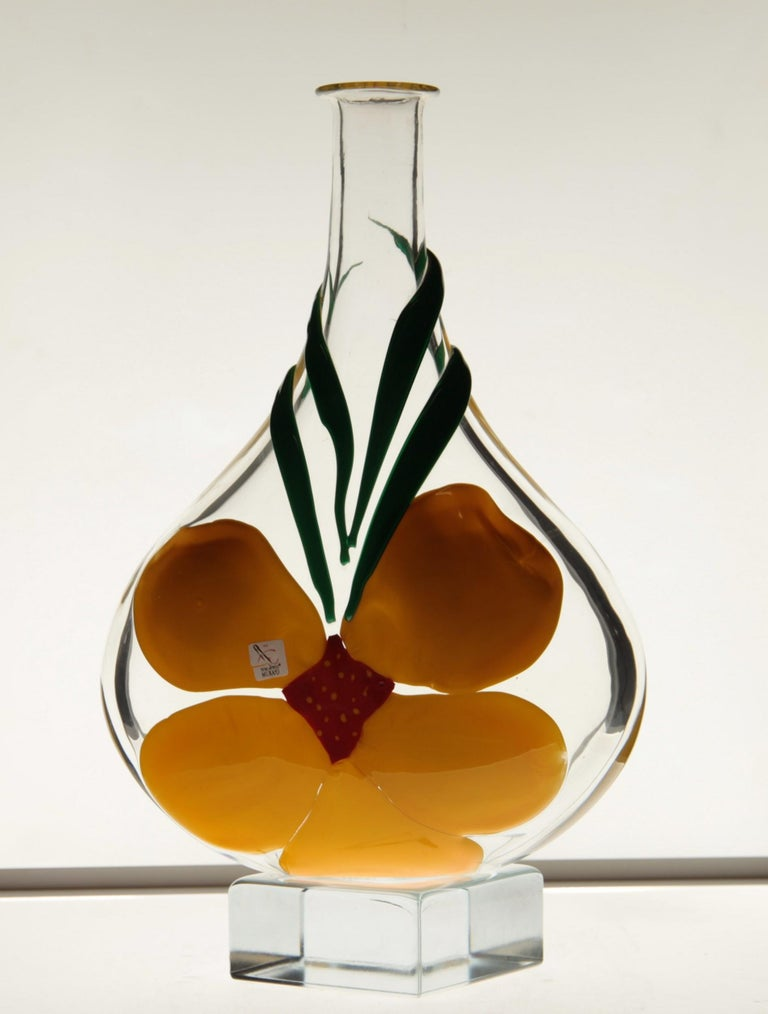 Late 20th Century Berit Johansson for Pauly Murano Flask Monet's Giverny Nasturtium Beloved Flower For Sale