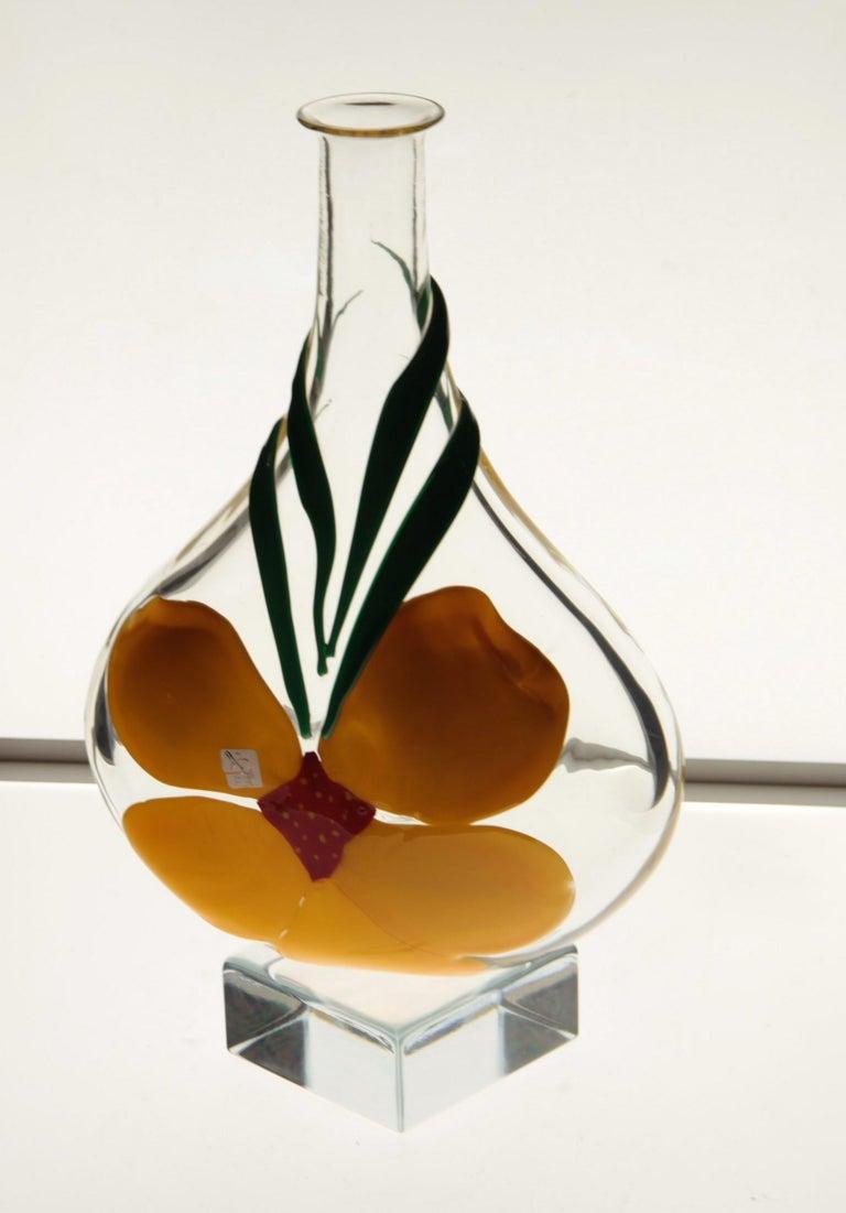 Berit Johansson for Pauly Murano Flask Monet's Giverny Nasturtium Beloved Flower For Sale 1