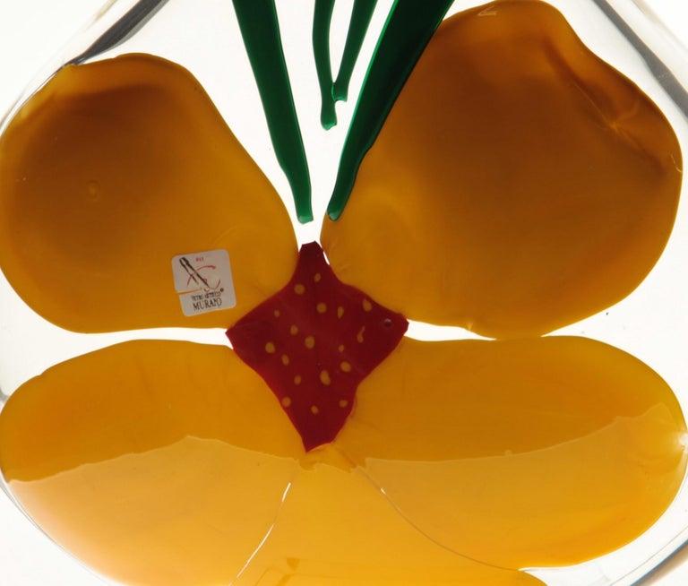 Berit Johansson for Pauly Murano Flask Monet's Giverny Nasturtium Beloved Flower For Sale 2