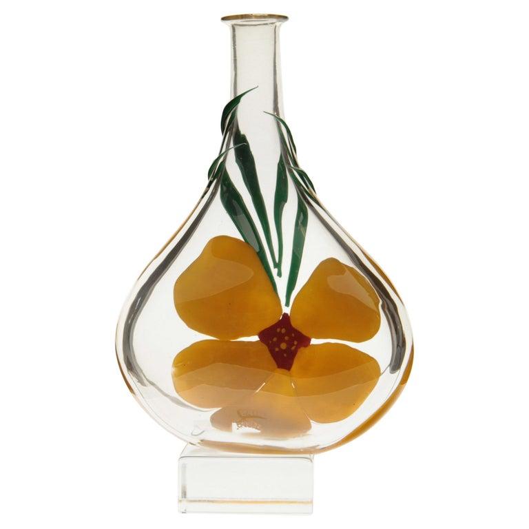 Berit Johansson for Pauly Murano Flask Monet's Giverny Nasturtium Beloved Flower For Sale