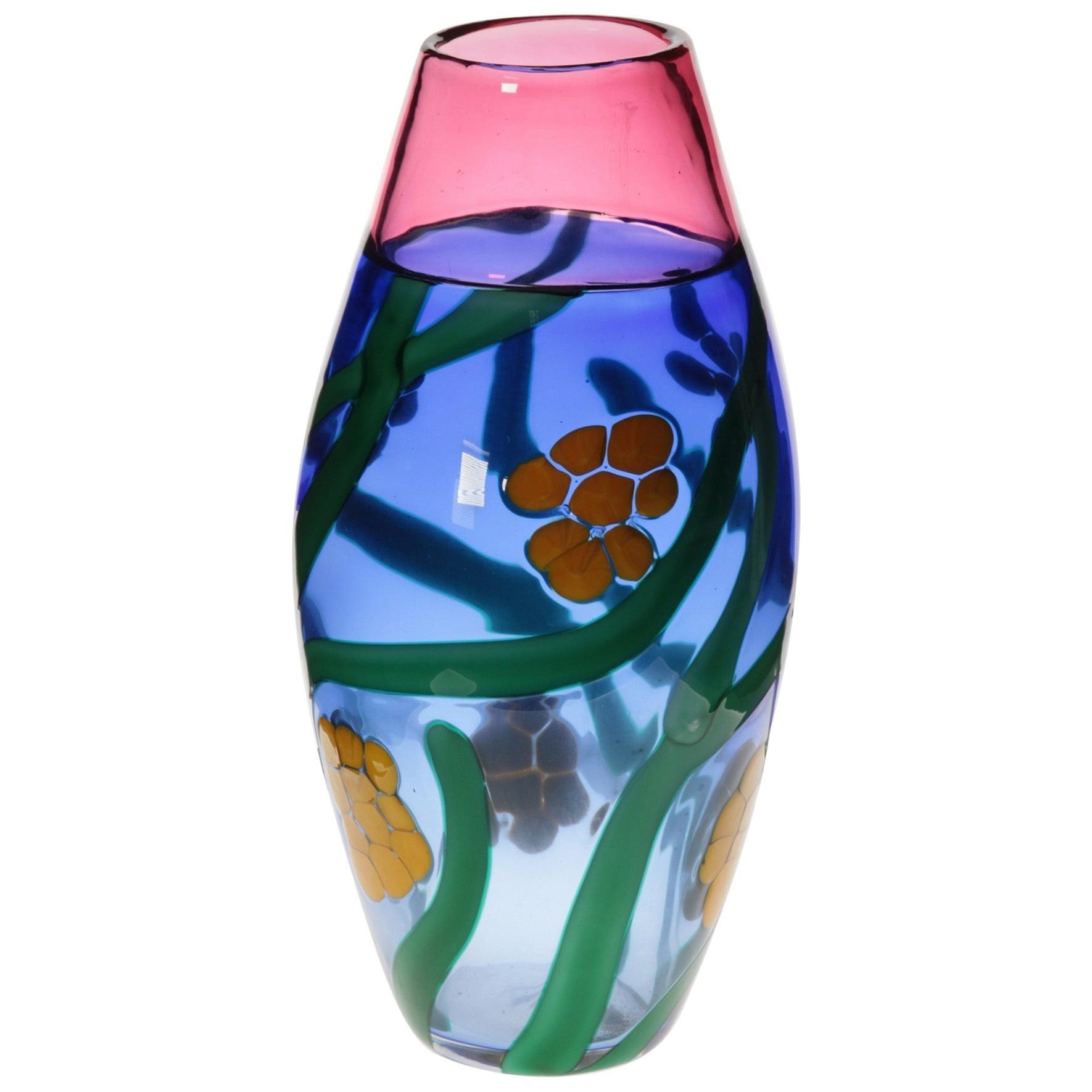 Berit Johansson for Pauly, Murano Incalmo Vase, Design of Mimosa Flowers, Signed