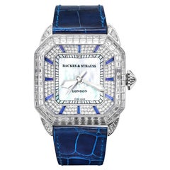 Berkeley Baguette Blue Velvet 40 Luxury Diamond Watch for Men and Women