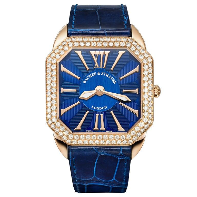 Berkeley Renaissance 43 Luxury Diamond Watch for Men, 18 Karat Rose Gold For Sale