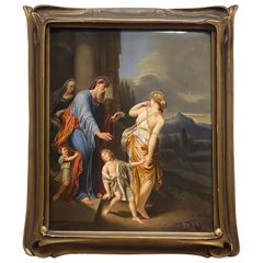 Berlin KPM Hand Painted Porcelain Plaque, 'The Expulsion of Hager'