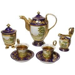 Berlin KPM Porcelain Five-Piece Cobalt-Blue and Parcel-Gilt Coffee Set