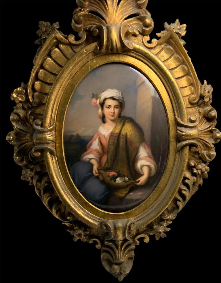 Victorian Berlin KPM Porcelain Hand Painted Oval Plaque Portrait of a Girl For Sale