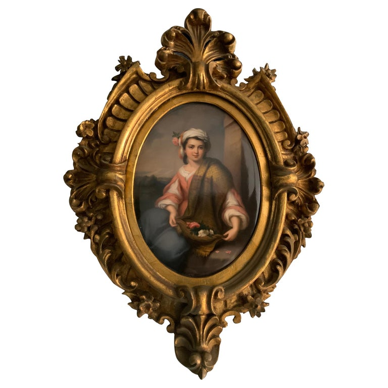 Berlin KPM Porcelain Hand Painted Oval Plaque Portrait of a Girl For Sale