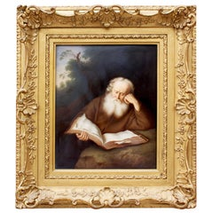 "Berlin K.P.M. Porcelain Plaque ""Der Eremit"" 'The Hermit' After Salomon Koninck"