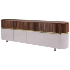 Buffet Sideboard with Walnut, Rose and Brass Detail Doors Berlin