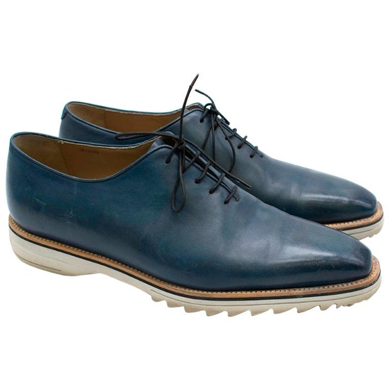 Berluti Antique Brown Fast Track Leather Lace-Ups 43.5 For Sale