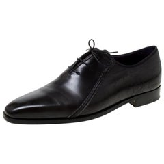 Berluti Black Leather Lace Up Oxfords Size 42.5