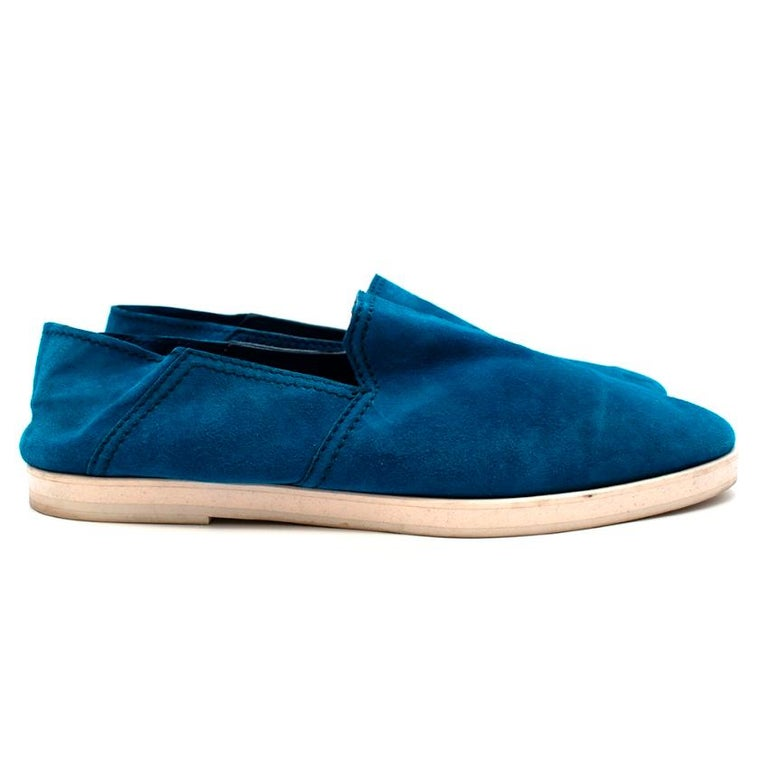 Berluti Blue Suede Loafers  -Made of super soft suede  -Soft leather lining  -White rubber soles for adherence  -Collapsible back  -Gorgeous blue hue   Materials: Main-suede Lining-leather  Soles-rubber  Made in Italy   Heel height- 2cm  Insoles- 30