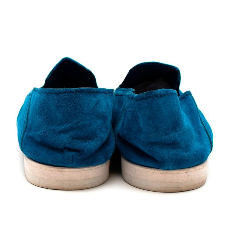 Berluti Blue Suede Loafers - Size 44 In Excellent Condition For Sale In London, GB