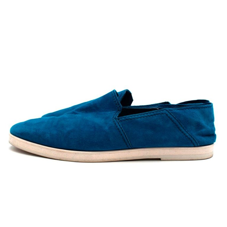 Women's or Men's Berluti Blue Suede Loafers - Size 44 For Sale