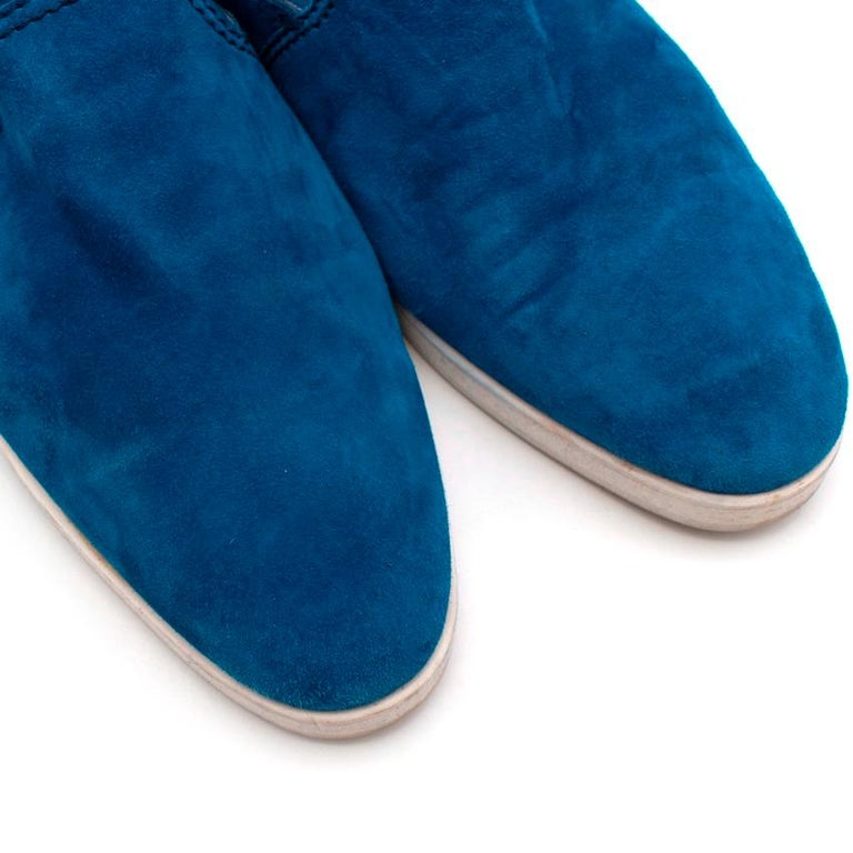 Berluti Blue Suede Loafers - Size 44 For Sale 1