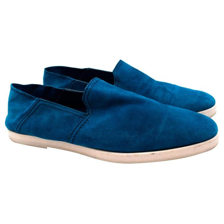 Berluti Blue Suede Loafers - Size 44 For Sale