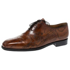 Berluti Brown Galet Scritto Leather Alessandro Oxfords Size 45