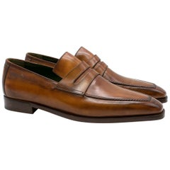 Berluti Brown Leather Loafers Size 8