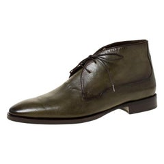 Berluti Olive Green Leather Lace Up Desert Boots Size 42.5