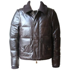 Berluti Padded Leather Jacket with Detachable Sleeves