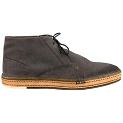 BERLUTI Size 11 Dark Gray Contrast Lace Leather Trim Ankle Chukka Boots