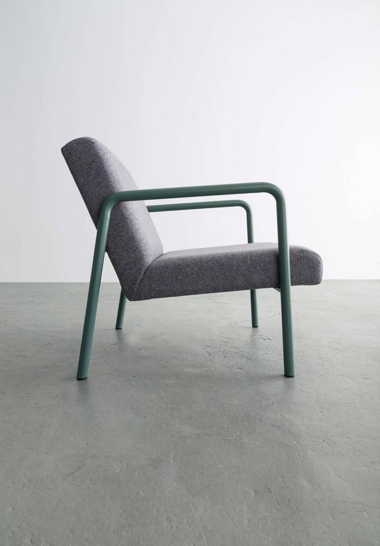 American Berm Lounge Chair, Green Powder Coated Steel Tube Frame, Grey Wool Upholstery For Sale