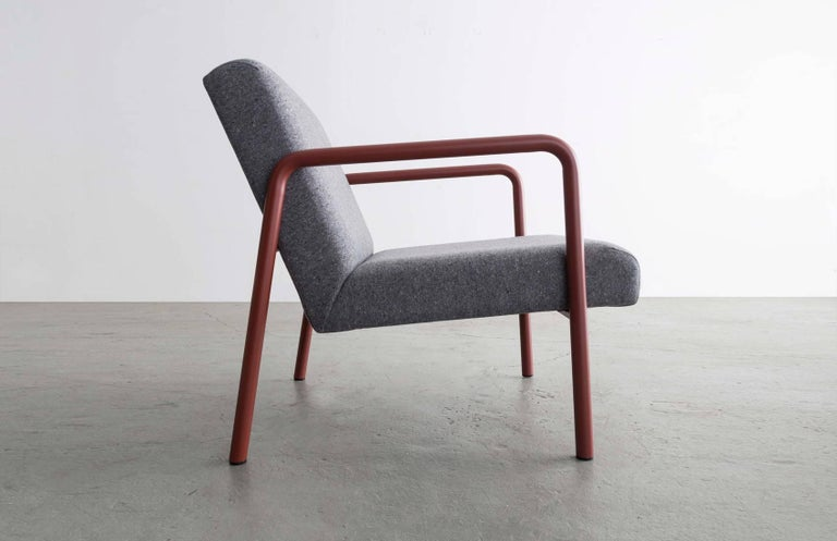 American Berm Lounge Chair, Red Powder Coated Steel Tube Frame, Grey Wool Upholstery For Sale