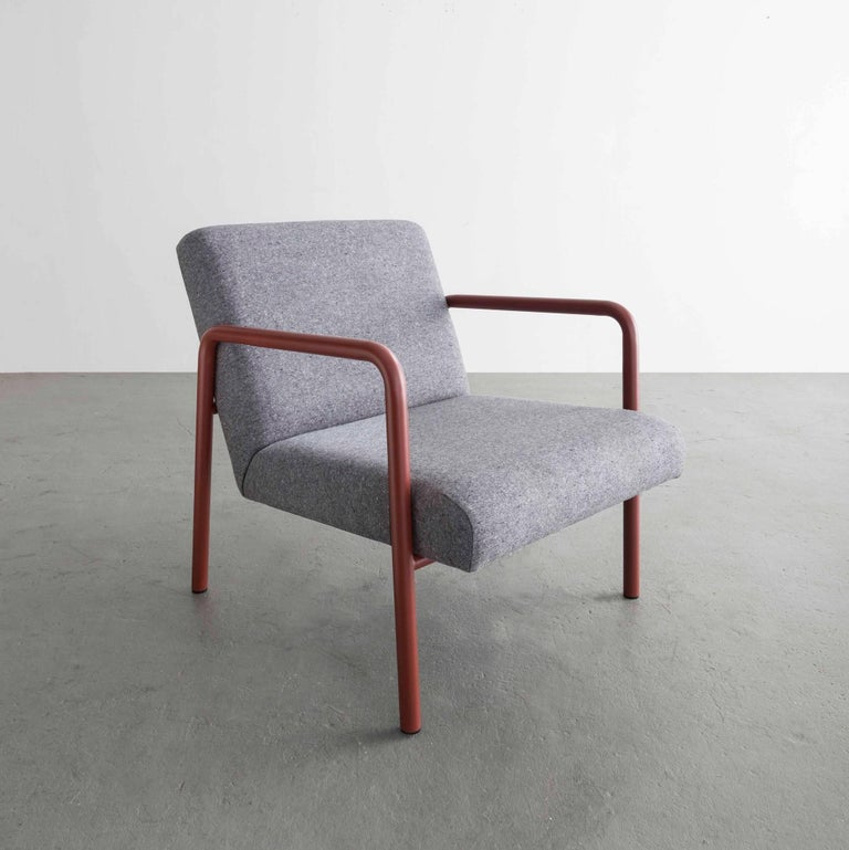 Modern Berm Lounge Chair, Red Powder Coated Steel Tube Frame, Grey Wool Upholstery For Sale