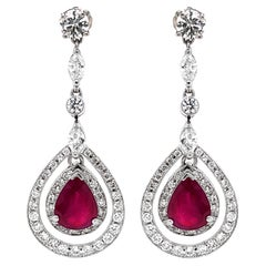 Burmese Pear Cut Ruby 3.61 Carat Diamond Dangling Platinum Earrings