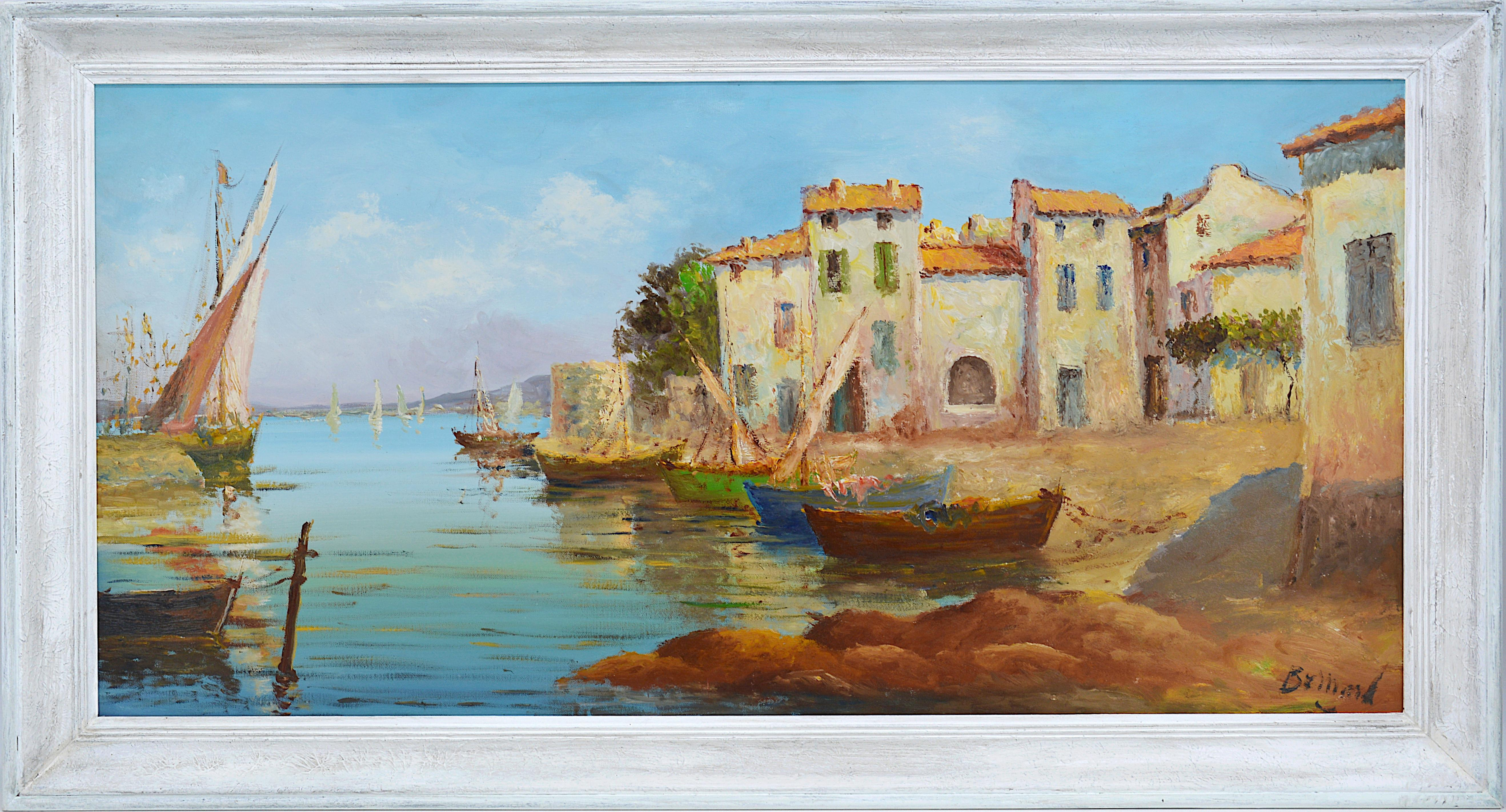 French Mediterranean Provencal Oil On Canvas, Boats in Martigues, 1940-1950s