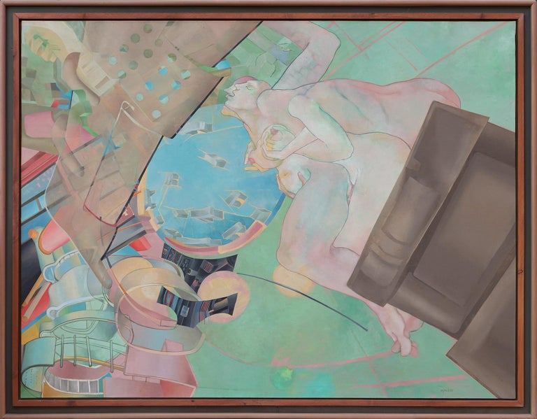 Bernard Aptekar Figurative Painting - For the Megaliths to the Megalopolis, Some Things Stay the Same
