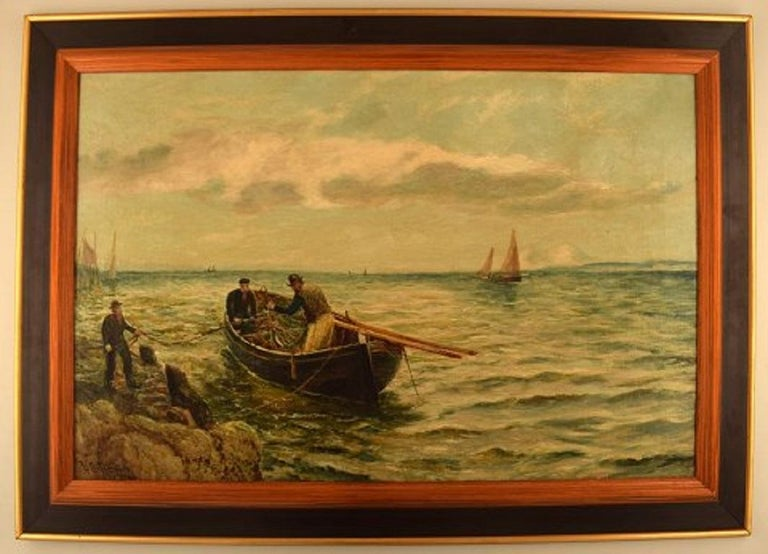 Bernard Benedict Hemy (1845-1913), British naval painter. Oil on canvas. Fishermen go ashore, 1880s. In very good condition. Signed. The canvas measures: 75 x 49 cm. The frame measures: 8.5 cm.