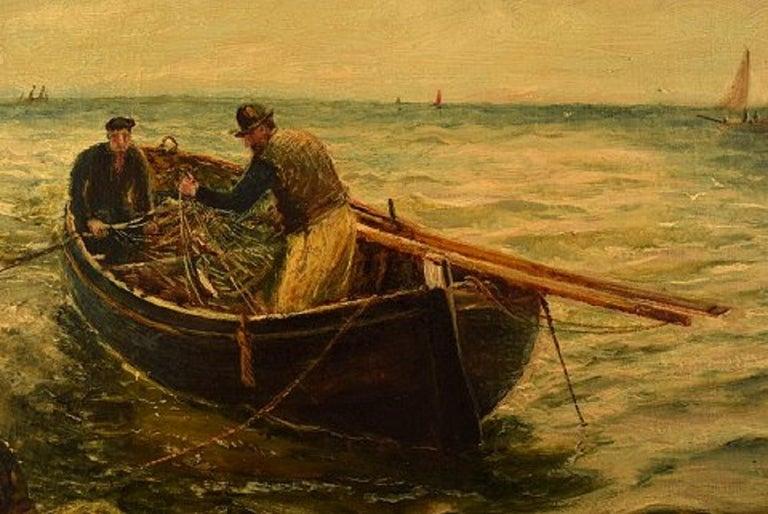 English Bernard Benedict Hemy British Naval Painter, Oil on Canvas, Fishermen For Sale