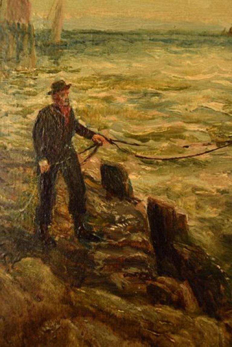 Bernard Benedict Hemy British Naval Painter, Oil on Canvas, Fishermen In Good Condition For Sale In Copenhagen, Denmark