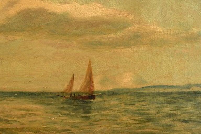 Late 19th Century Bernard Benedict Hemy British Naval Painter, Oil on Canvas, Fishermen For Sale