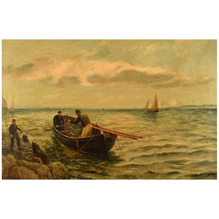 Bernard Benedict Hemy British Naval Painter, Oil on Canvas, Fishermen For Sale