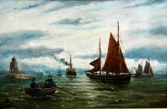 Northern Harbour Views - Pair Of Maritime Oil Paintings By Bernard Hemy