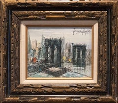 "Oil Painting Entitled ""Le pont de Brooklyn"" after Bernard Buffet"