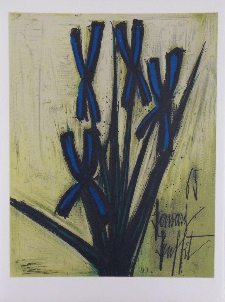 Bernard Buffet Figurative Print - Blue Flowers - Stone lithograph - 1965