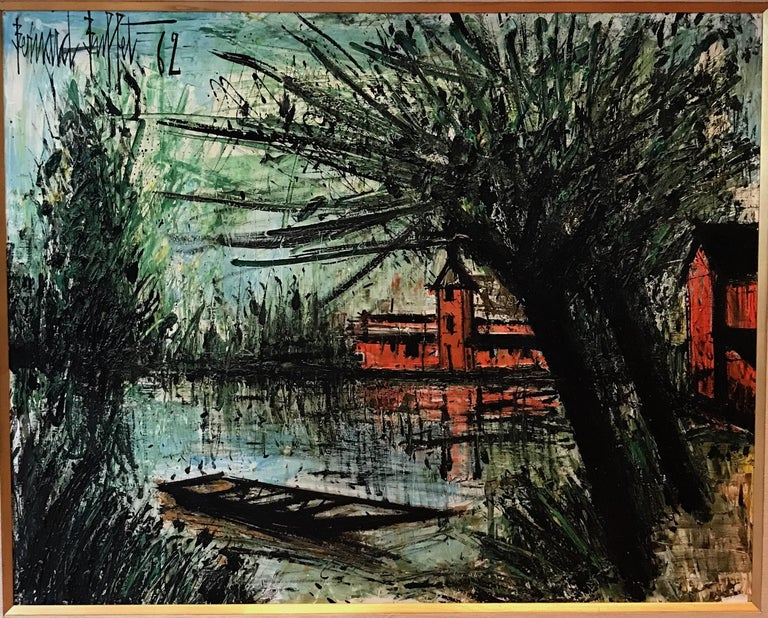 Bernard Buffet 1928–1999. Etang-La-Ville Signed Bernard Buffet and dated 62 (upper left) Oil on canvas Measures: 73.5 by 92cm., 29 by 36 1/4 in. Painted in 1962.