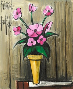 'Still Life of Pink Dahlias' Painting of flowers in a vase by Bernard Buffet