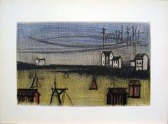 1966 Bernard Buffet 'A Small Beach (la Petite Plage)' Expressionism Green