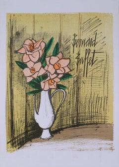 1973 Bernard Buffet 'Bouquet De Fleurs' Expressionism Yellow,Brown,Multicolor