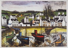 Beach and Village in Brittany - Lithograph on canvas