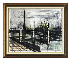 Bernard Buffet Original Le Pont Du Jour Color Lithograph Hand Signed Modern Art