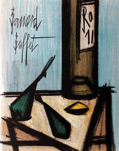 "Bernard Buffet-Still Life With Bottle-12.25"" x 9.5""-Lithograph-1966"